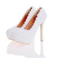 Schuhe Schöne Handgemachte Frauen High Heels Mädchen Party Prom Pumpen Brautschuhe Weiß Rosa Schwarz Blau Farbe