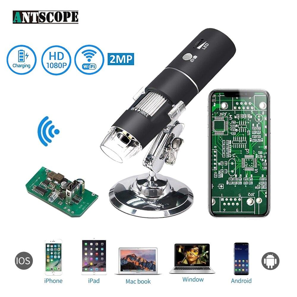 1080 p 1000X WiFi Microscope Numérique pour Android Iphone Mobile Téléphone 8 LED 3in1 enfants Numérique Microscope USB Endoscope Zoom caméra