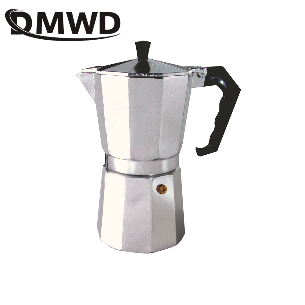 DMWD 1/2/3/6/9/12Cups Stovetop Coffee Maker Italian Moka Aluminum Mocha Espresso Percolator Pot Filter Tea Pot Cafetiere Pitcher