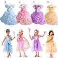 Cinderella Princess Dress 2016 New Short-Sleeved Girls Kids Movie cosplay costume Party Performances Dress Children dress