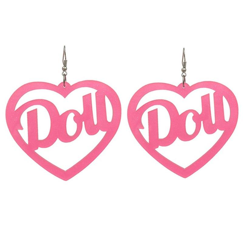 2020 новые модные ярко-розовые длинные висячие серьги с большим сердцем для женщин панк акриловые буквы Dou Висячие Серьги Pendientes Mujer Moda