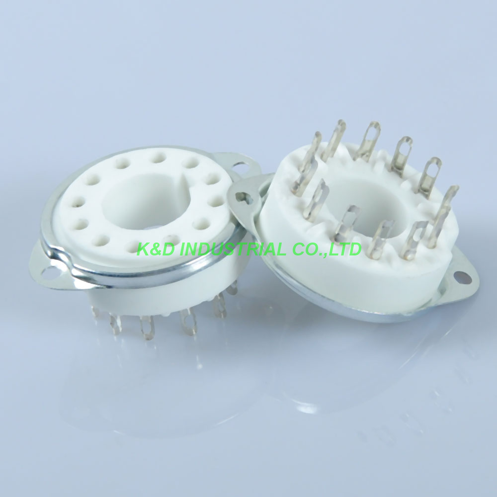 2pcs Ceramic Vacuum new Tube Socket 12Pin DG7 32 CRT PMT 5UP1 Guitar Valve B12A Base for Tube Amplifier in Electrical Plug from Consumer Electronics