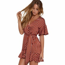 Summer Europe and the United States fashion personality belt leisure wave dot decorative printing womens style dress