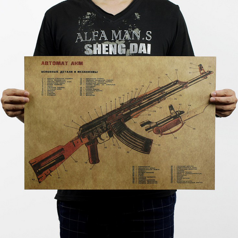 Free shipping,AK47 Famous Weapon design/kraft paper/bar poster/Retro Poster/decorative painting 51x35.5cm