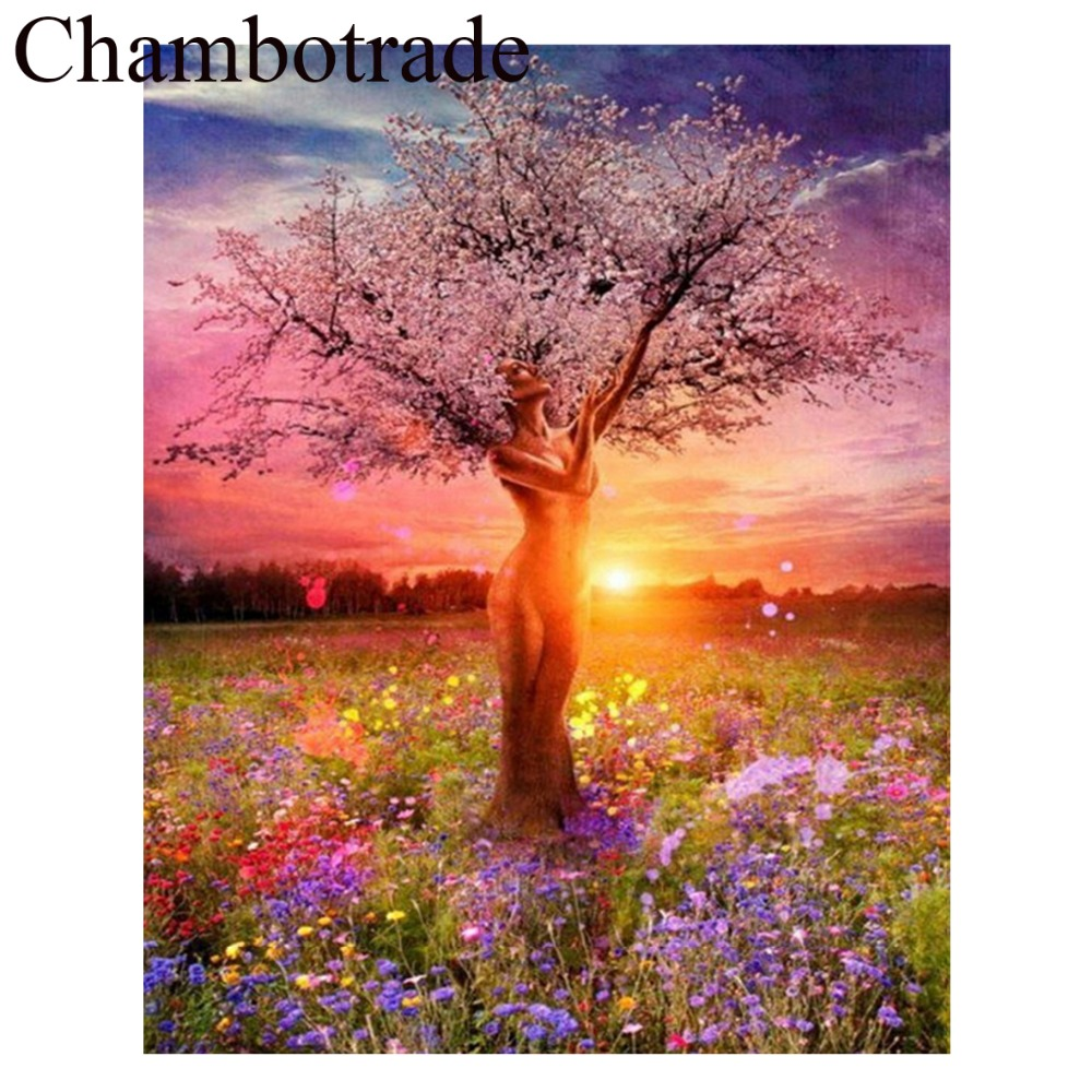 Wall Art Sunset Beauty Tree Figure DIY Picture Frameless By Number Linen Canvas Painting Acrylicpaint Home Decor Chambotrade