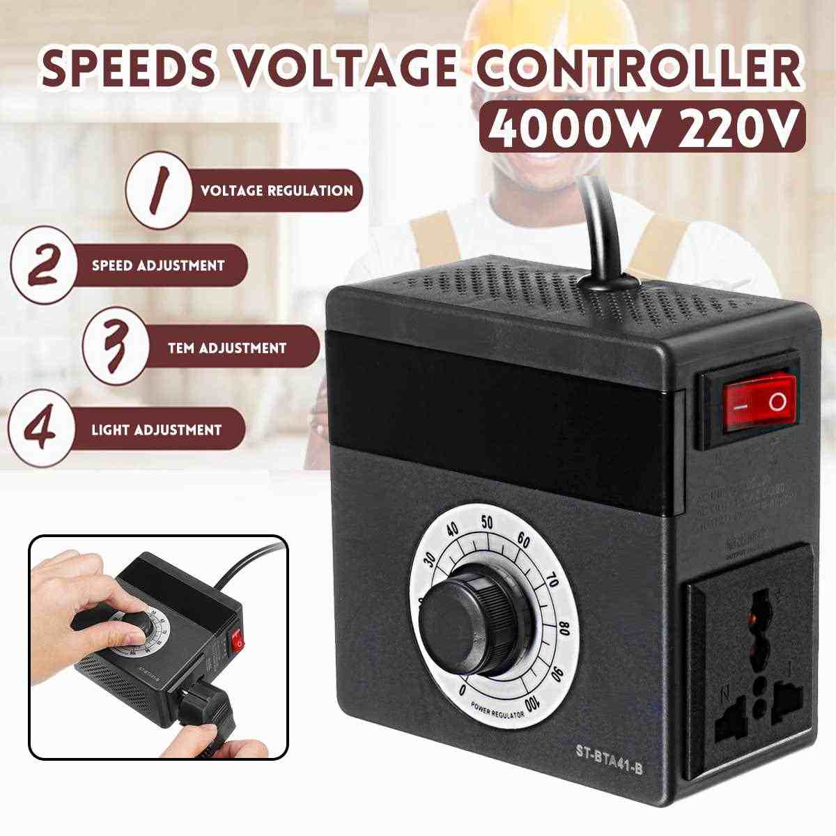 New Arrival 2019 220V 4000W EU Plug Electronic Voltage Regulator Temperature Motor Fan Speed Controller Dimmer Electric Tools