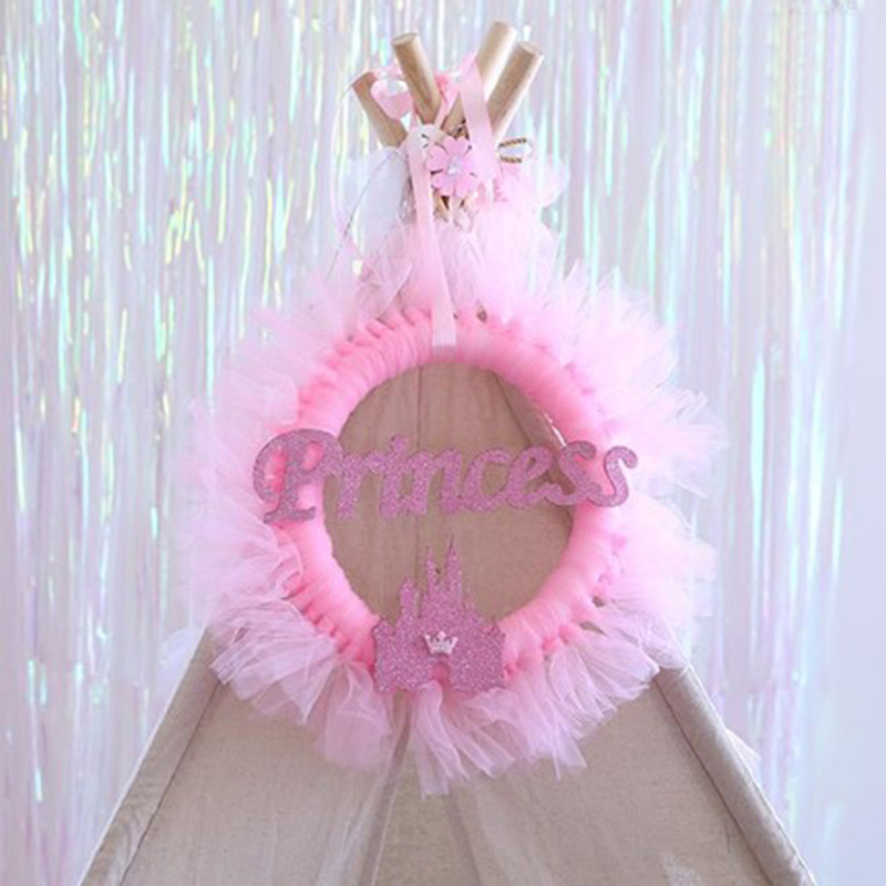 1pcs Blue Pink Bunting Garland Princess Themed Tutu Yarn Knocker Banner Birthday Party Decor Baby Shower Photo Props in Banners Streamers Confetti from Home Garden