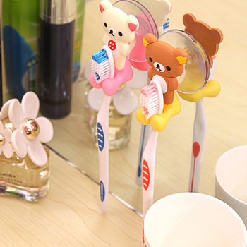 1 pc 2019 New Arrival cute Cartoon sucker toothbrush holder suction hooks bathroom set accessories Eco-Friendly 1