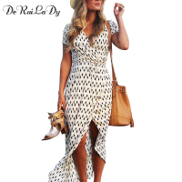DeRuiLaDy Boho Style Beach Women Long Dress Print Short Sleeve Split Fork Asymmetry Maxi Dresses Casual