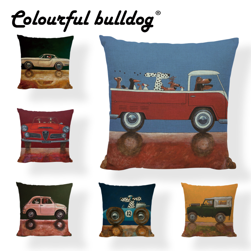 Driving Dalmatians Pettern Cushion Cover 43cm Dachshund Greyhound Home Living Room Linen Pillow Cover Family Car Seat Decoration