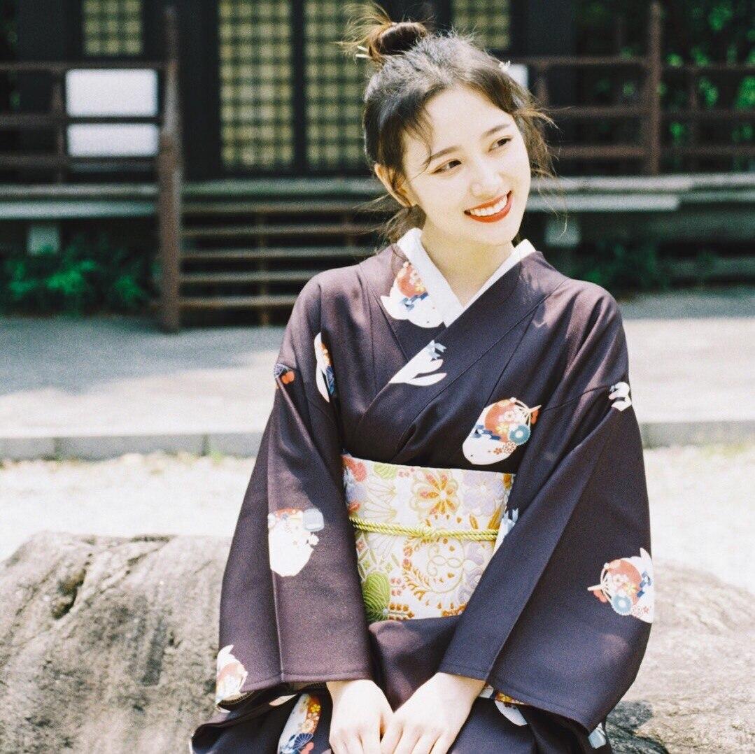 2019 Black Vintage Japanese Women's Silk Satin Kimono Mujeres Quimono Yukata Evening Dress Flower One
