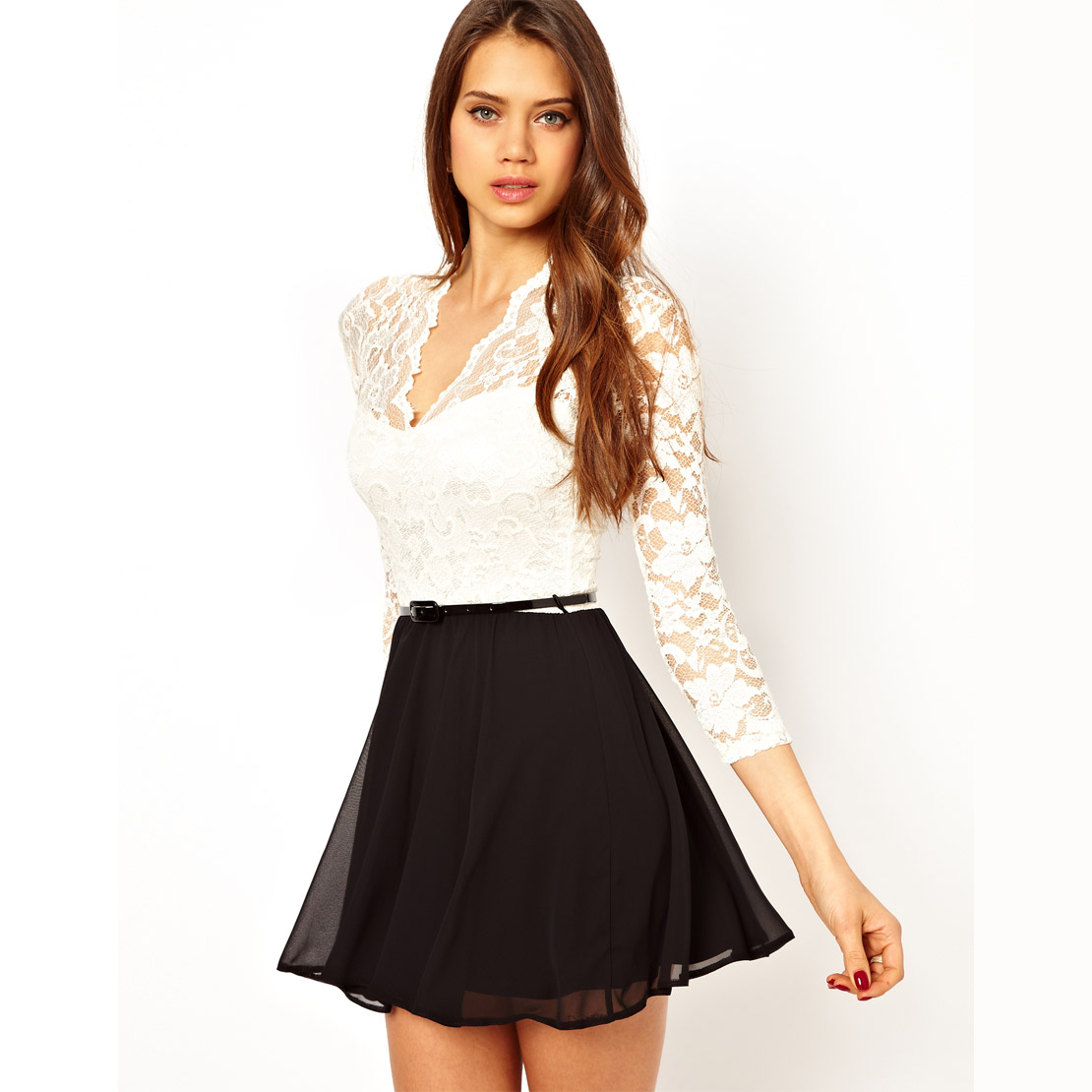 Haoduoyi white lace long sleeve dress patchwork black