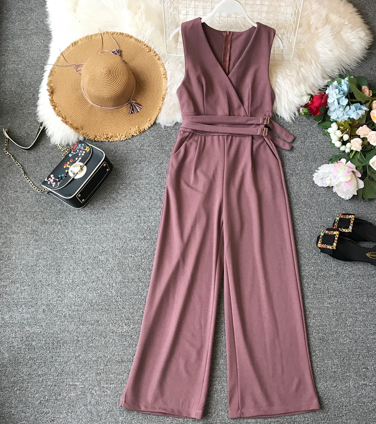 ALPHALMODA 2019 Spring Ladies Sleeveless Solid Jumpsuits V-neck High Waist Sashes Women Casual Wide Leg Rompers 15