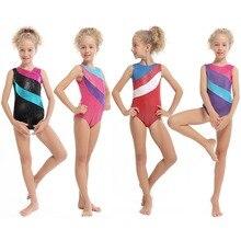 От 2 до 13 лет платье для маленьких девочек, одежда для спортивной гимнастики, костюм, без рукавов, позолоченное танцевальное трико, профессиональная практика