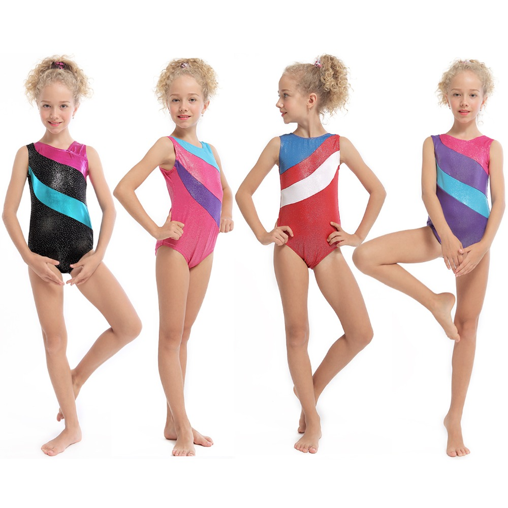 2-13Y Toddler Girls Dress Gymnastics Dancewear Costume Sleeveless Gilding Dance Leotard Professional Practice
