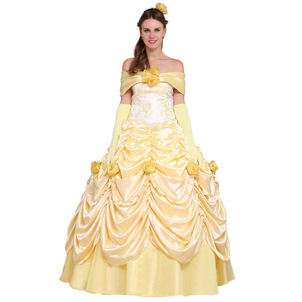 Beauty and the Beast Belle Princess Dress Adult Wedding Party Dress Halloween Carnival Cosplay Costume