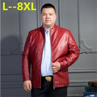 LONGHONGYU 8XL Motorcycle Leather Jackets Men Solid Business Casual Coats Autumn Winter Leather Clothing Bomber Jacket for Male