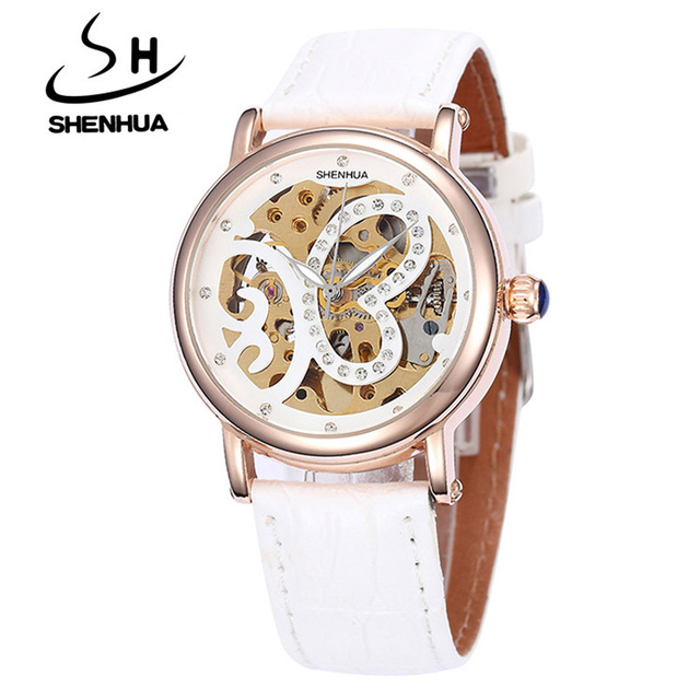 Shenhua Women Watches Famous Brand Gold Rhine Diamond Butterfly Automatic Mechanical Leather Wrist watches Skeleton Watch Ladies