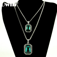Mens Silver Stone Green Onyx Color Stone Pendant 24 30 Box Chain 2 Necklace Set Hip