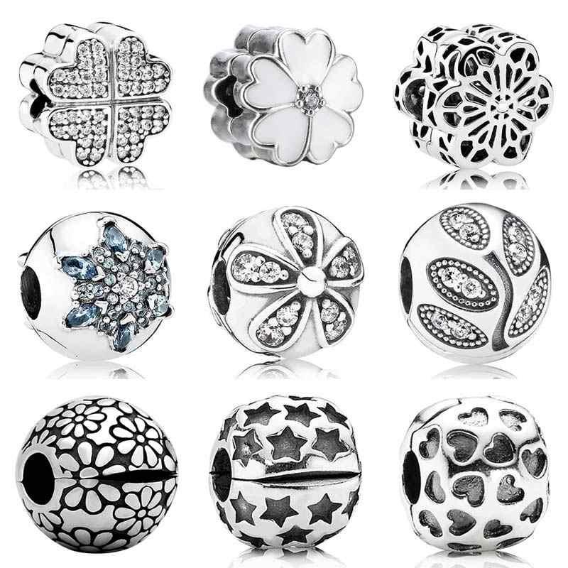 d392ad19b Crystallised Snowflake Dazzling Daisies Primrose Flower Clip Stopper Bead Fit  Pandora Bracelet 925 Sterling Silver Charm