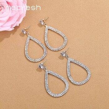 da6bcb41c184 Mecresh de Color plata lágrima pendientes 2019 joyería de moda Simple de  diamantes de imitación pendientes de declaración de las mujeres accesorios  EH1452