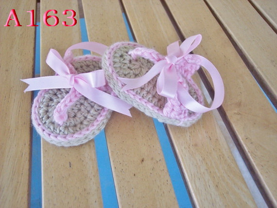 6458e66ec Free shipping Baby Crochet Shoes Baby girl Flip Flops with pink Ribbon Infant  sandals