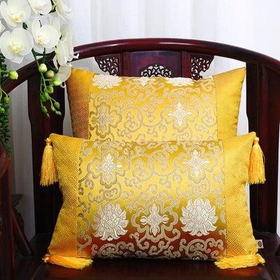 Классические Лоскутные цветочные шелковые наволочки для декоративных подушек подушечки высокого качества стул для дома офиса диванная подушка крышка - Цвет: gold