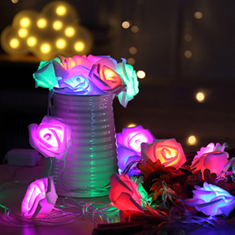 20LED 2.2M Rose Flower Led Christmas Lights New Year Wedding Christmas Home Decorative String Fairy Light Battery Operated Lamp