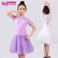 High Neck Fairy White Tulle Dress Girls Dance Leotard Dress Ballet Tutu For Kids