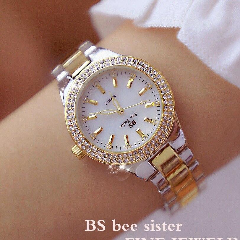 Neue Ankunft Luxus Diamant Zifferblatt Damen Uhr Frauen Quarz Uhren Weibliche Voller Stahl Leuchtende Uhr Zegarek Damski Kleid Uhren