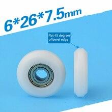 6*26* 7.5 mm  Y type inner surface bearing pack glue roller plastic coated nylon engraving machine 3 d printers orbit