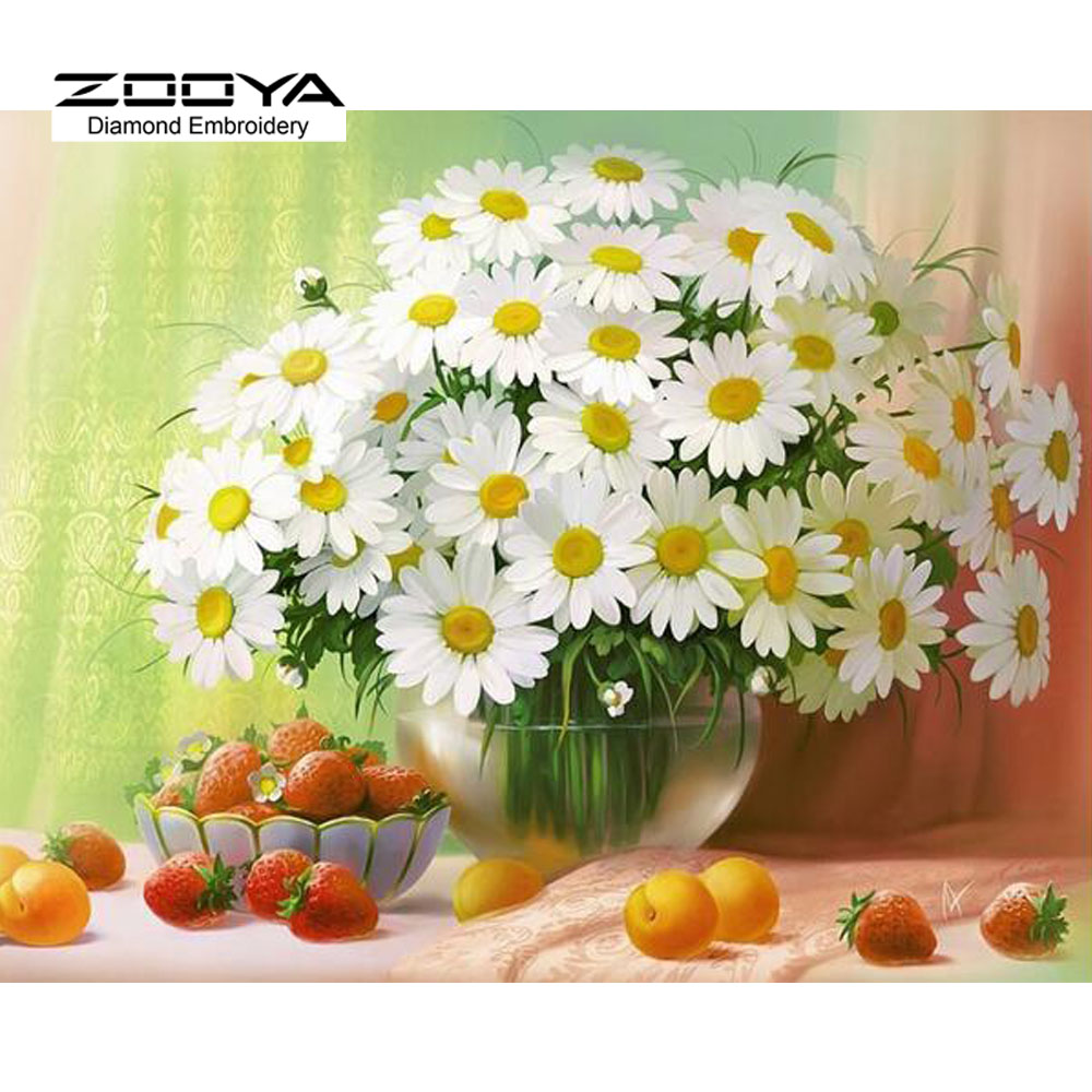 3D 3D DIY Lukisan Baru Cross Stitch Putih Daisies Bunga Kristal Needlework Diamond Embroidery Bunga Home Hiasan BJ624