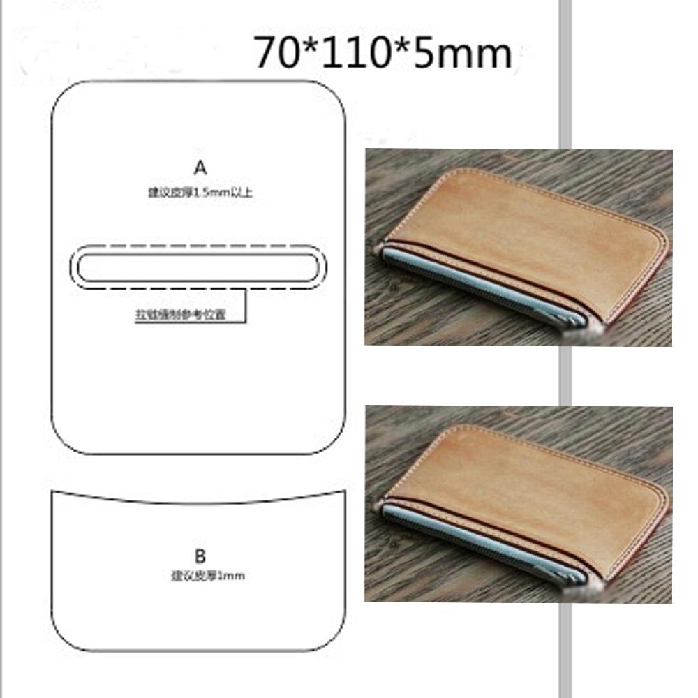 Japan Steel Blade Wooden Dies DIY Leather Craft Zipper Simple Coin Bag Wallet Die Mould Set Hand Punch Tool Template 70X110X5mm