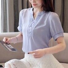 Fashion Woman Blouses 2019 Short Sleeve Shirt Chiffon Blouse Elegant Ladies V-neck Shirts Blusas
