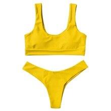 Tank Top Bikini Set Solid Swimwear Women Halter Push Up With Padding