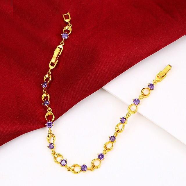 MxGxFam Colorful Zircon Bracelet For Women Jewelry 24 k Pure Gold Color 2018 Fashion