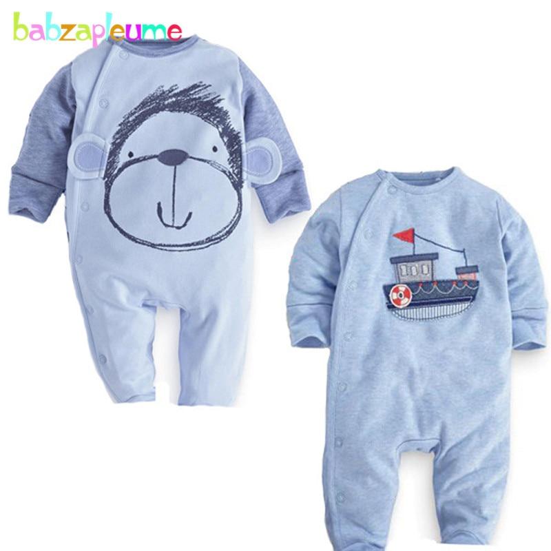 2 Piece 0 18Months Spring Autumn Newborn Jumpsuit Cartoon Cute Baby Costume Boys Rompers Kids Clothes