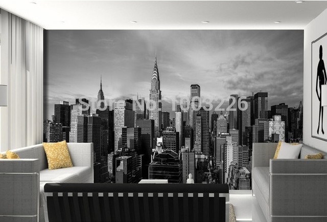 Slaapkamer New York : Beibehang wit sofa slaapkamer tv in new york building