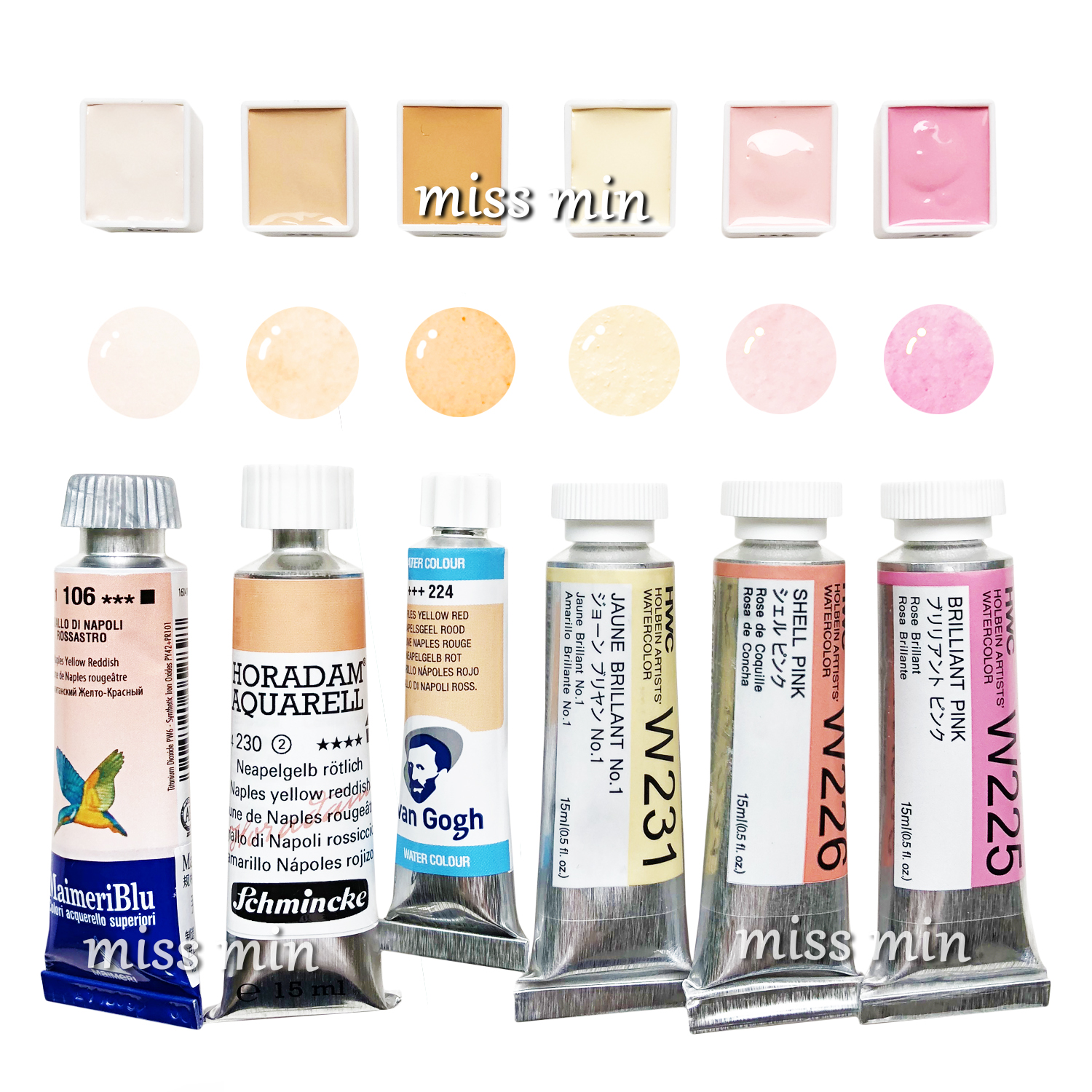 Handmade Skin Color Watercolor Paint Flesh Color 2ml Sub-package Travel Water Color Beauty Van Gogh Rubens Skin Color Collection