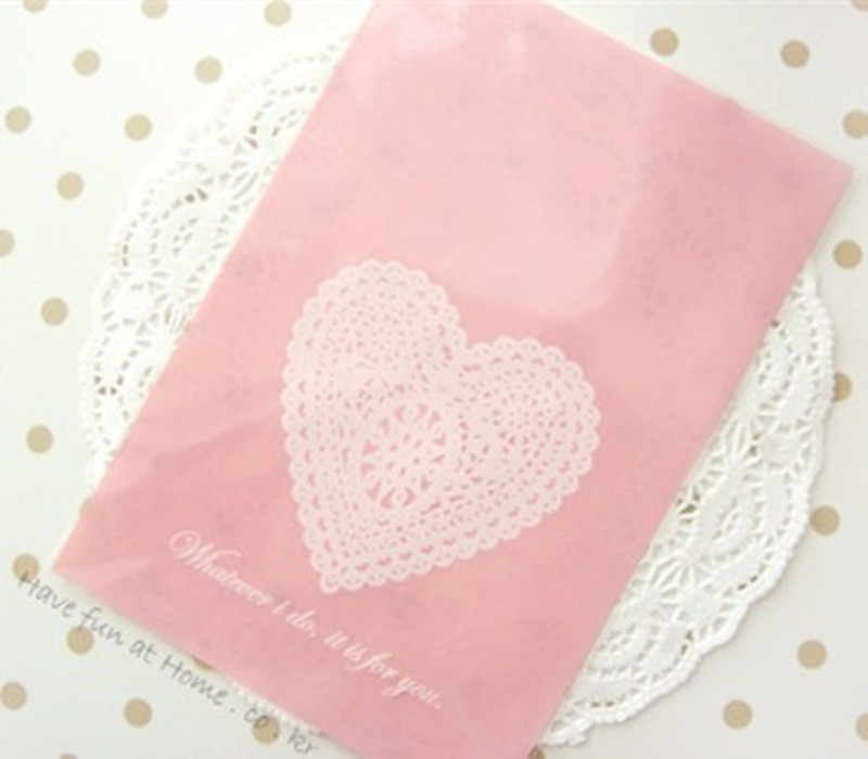 Saco de celofane superior aberto do coração do laço 100 rosa para a embalagem 13x19cm do biscoito do presente da padaria do chocolate dos doces