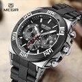 Hombres de la manera marca MEGIR relojes casual reloj hombre cronógrafo hombre reloj de cuarzo resistente al agua luminosa hora de silicona