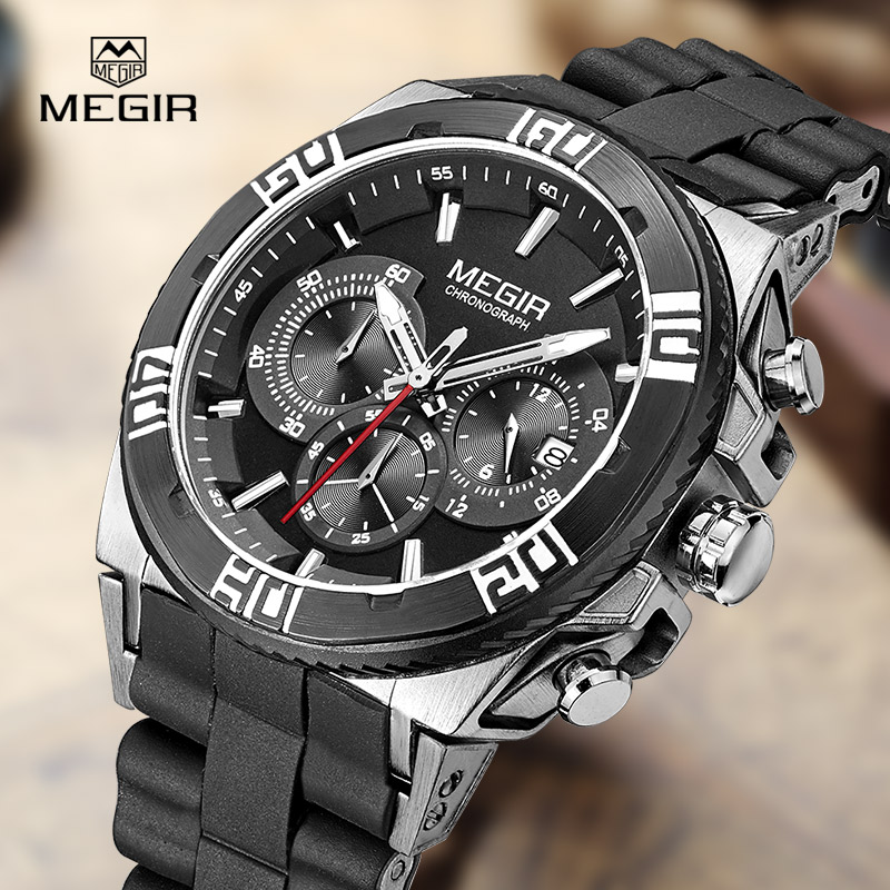 MEGIR fashion men's brand watches casual luminous quartz watch man water resistant wristwatch male chronograph silicone hour megir fashion sport quartz watches men casual leather brand wristwatch man hot waterproof luminous stop watch for male hour 2015
