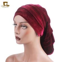 New Women Velvet Rasta Headdress Head Wrap Hat Hijab African Turban Beanie Hair Loss Chemo Slouchy Baggy Cap accessories