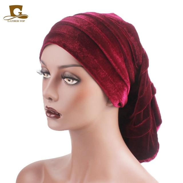 New Women Velvet Rasta Headdress Head Wrap Hat Hijab African Turban Beanie  Hair Loss Chemo Slouchy ad6b85afb15