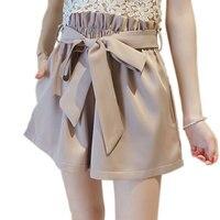 S M L 2017 Elegant Bows Bandage Elastic Waist Loose Casual High Waist Shorts Women Wide
