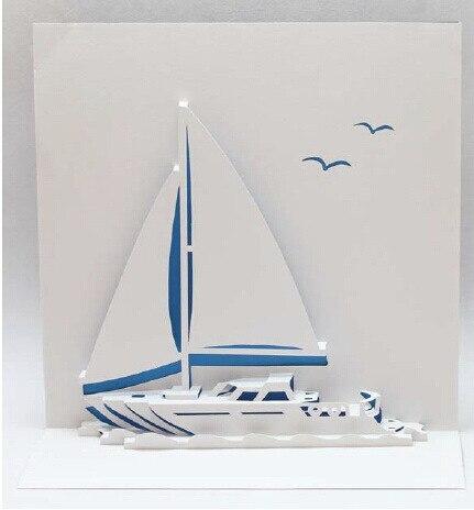sgbz020 kunstwerk 3d basteln papier carving zeichnungen dem segelboot karten valentinstag. Black Bedroom Furniture Sets. Home Design Ideas