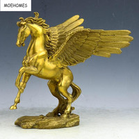 MOEHOMES chinese Collect bronze fengshui pegasus horse statue metal handicraft Home decorations