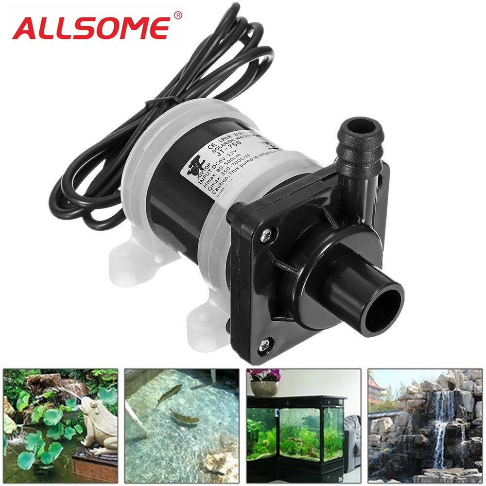 ALLSOME DC 12V Solar Powered Water Pump Motor 700L/H Brushless Magnetic Submersible Water Pumps HT2123ALLSOME DC 12V Solar Powered Water Pump Motor 700L/H Brushless Magnetic Submersible Water Pumps HT2123