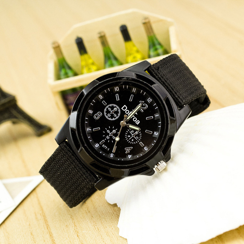 Digital Watch Reloj Hombre Men's Fashion Sport Braided Canvas Belt Watch Analog Wrist Watch Reloj Digital Hombre