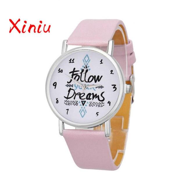 Women Causal Watches Female Ladies Follow Your Dreams Printed Pu Leather Watch Quartz Wristwatch Relogio Feminino reloj mujer